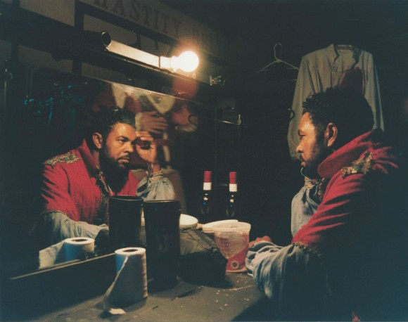 Black Actor Backstage, The Globe Theatre, West Hollywood, CA, 1999  (I love this photo.  Can't remember how I shot it.)