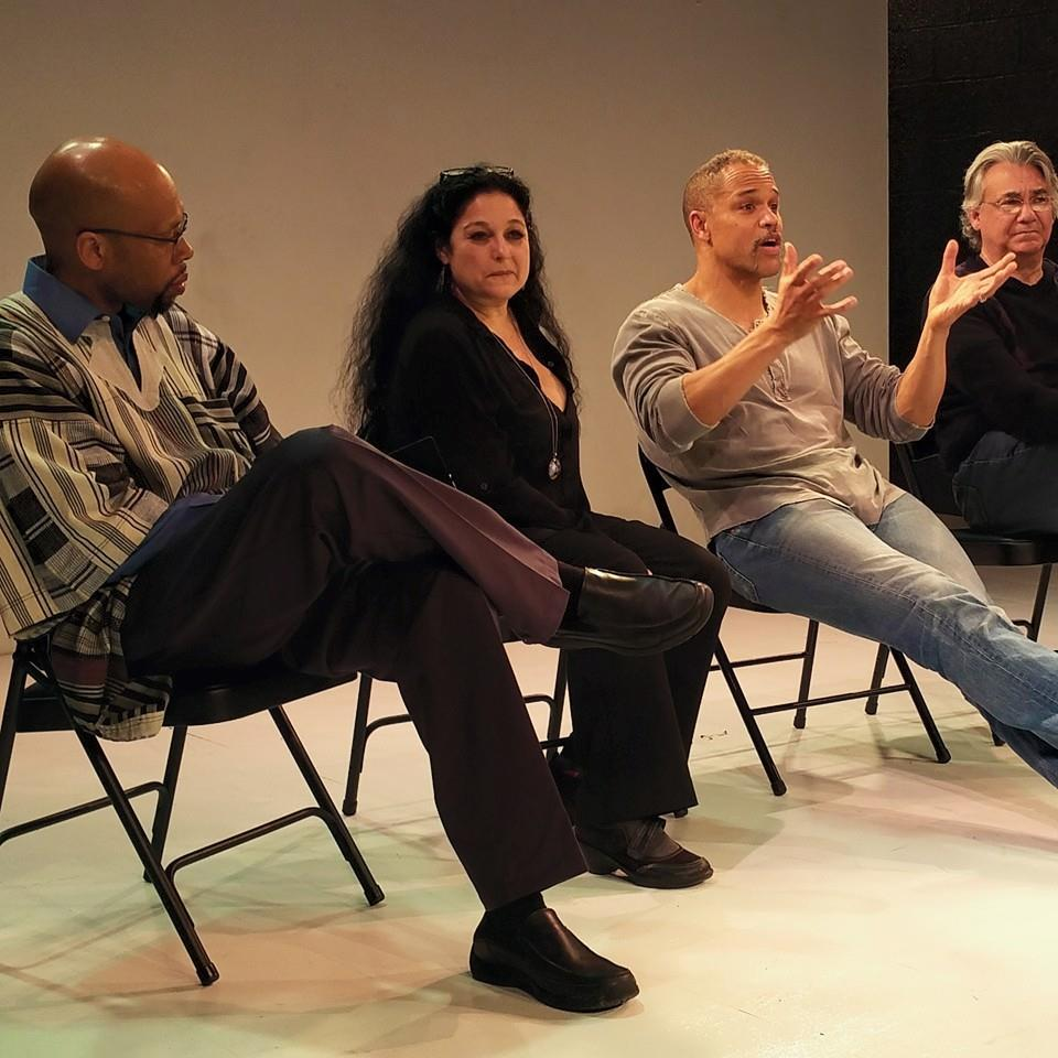 Post-show with, from lft, Dr. Akil Khalfani, Phoenix Artistic director, Elise Stone, and director Paul Kwame Johnson