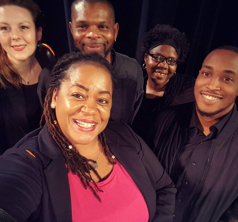 The production team: (from left) director Kim Weild; stage tech - Felix, Anitra, and Nile, and publicist Pamela Daniels in front.