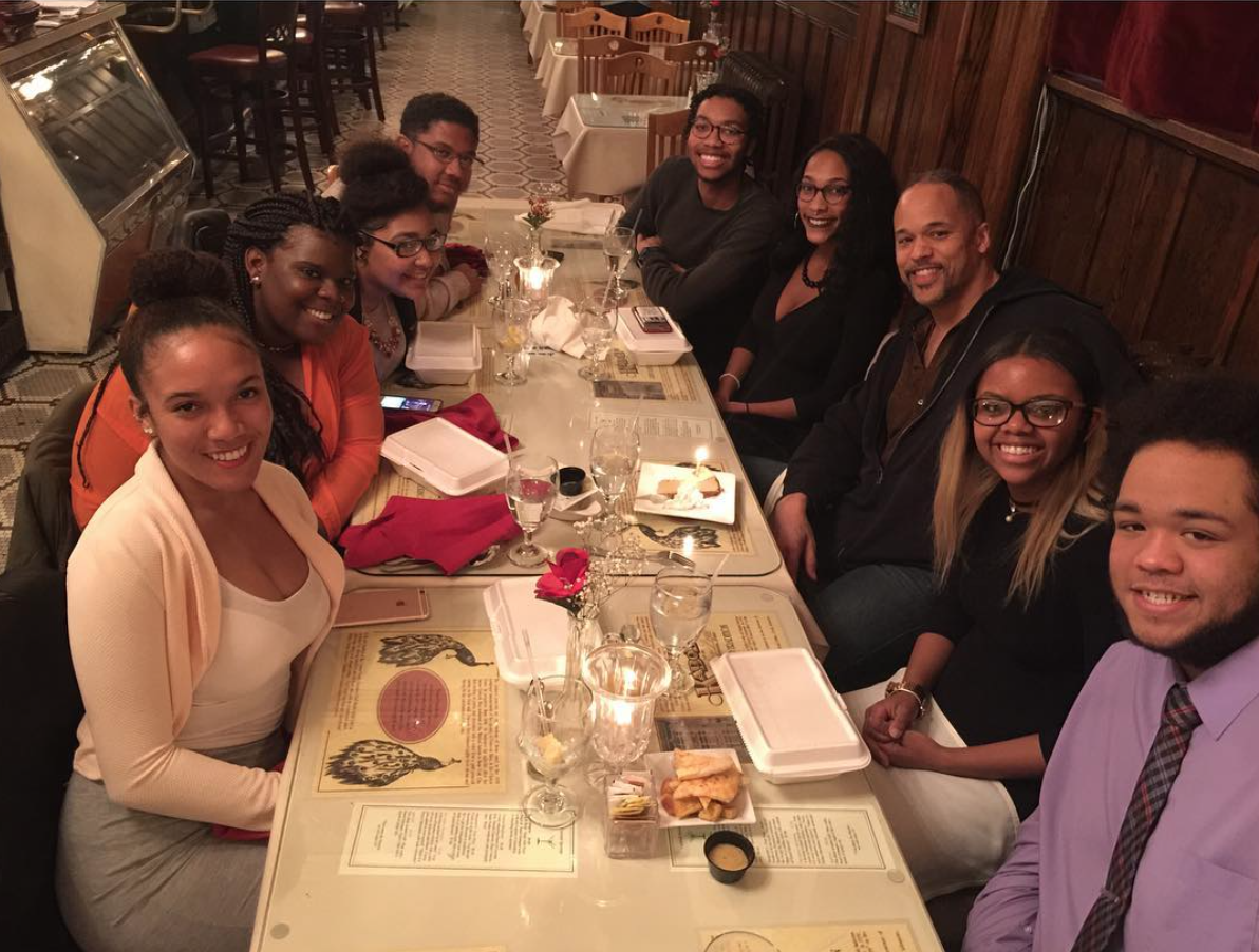 At dinner with students of the African American Student Union.